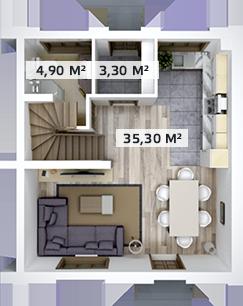 Планировка Трёхкомнатная квартира площадью 91 кв.м в ЖК «Счастье»