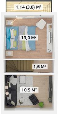 Планировка Двухкомнатная квартира площадью 53.5 кв.м в ЖК «Счастье»